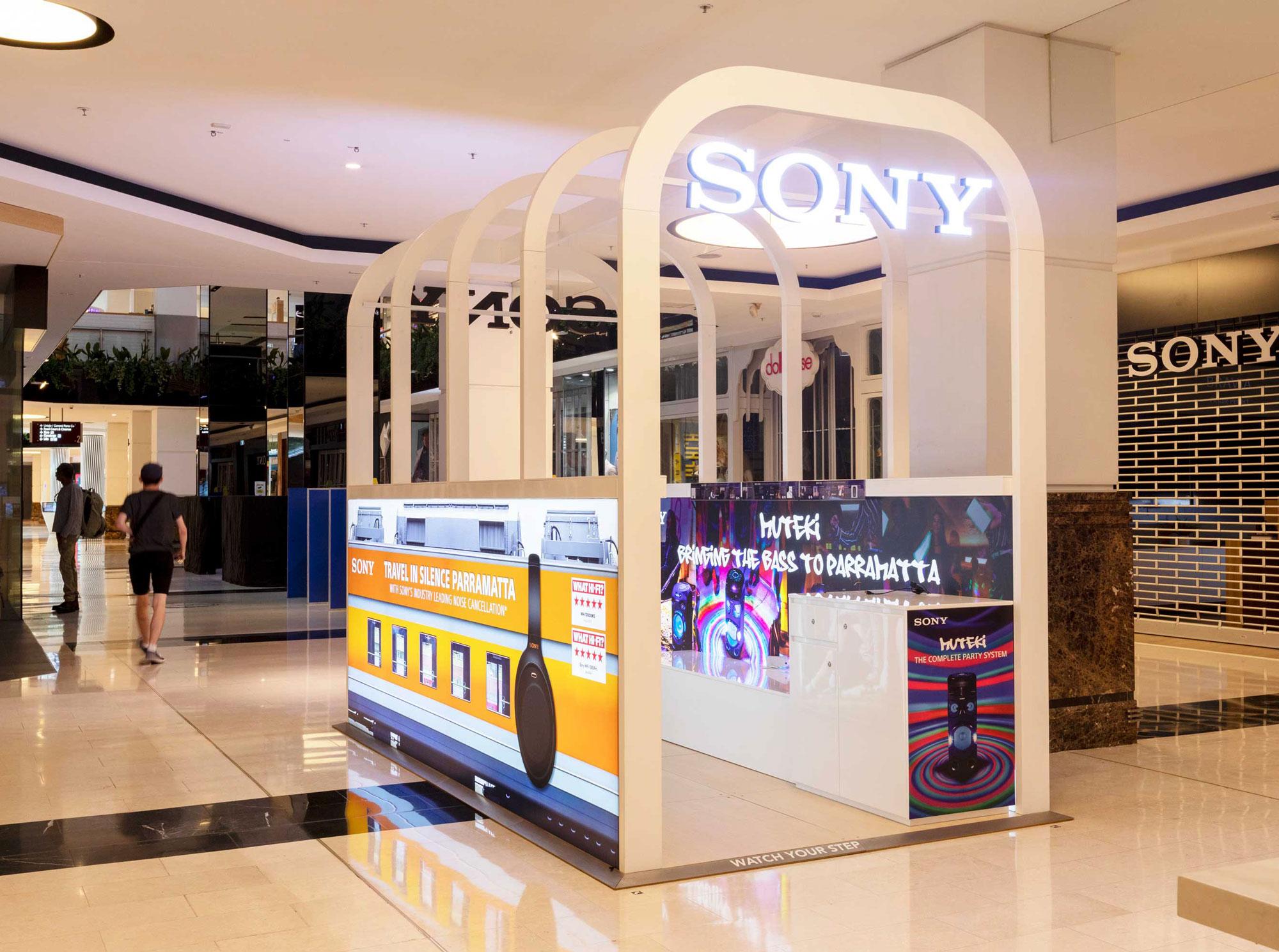 Sony Retail pop up kiosk Westfield Parramatta