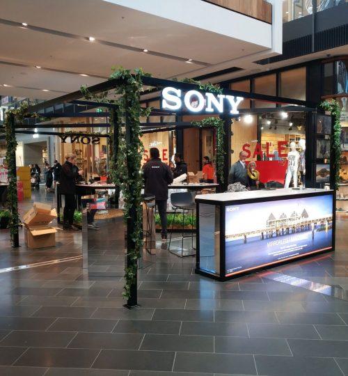 Sony Retail pop up kiosk Westfield